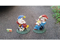 Punch And Judy Cast Iron Door Stops - Retro Vintage Antique Ornate - Dog & Cat