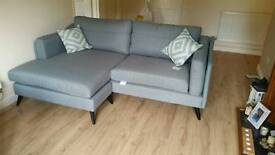 4 seater grey DFS corner sofa and armchair