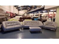 Ex-display DFS Fabb grey leather 3+2 seater sofa, snuggler chair and footstool