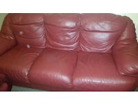 3 seater leater sofa. Good quality hard wearing.any offers?
