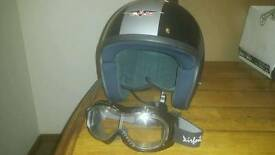 Open face helmet and goggles