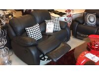 ROTHERHAM SOFAS DIRECT - BLACK LEATHER SET - RECLINER ACTIONS - BLACK - RED - BROWN - BRAND NEW