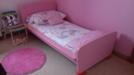 Ikea pink girls bed with ikea mattress very good condition