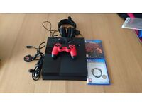 Playstation 4 500gb with games, Red controller and Turtle Beach Headset