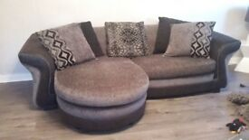 Dfs grey/black suite large sofa/swivelling chair