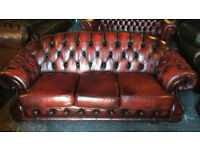 Oxblood leather 3 seater Chesterfield sofa...
