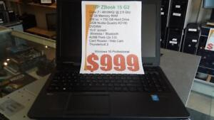 HP Zbook G2 - 2.8Ghz i7 - 32Gb RAM - 256Gb SSD + 750Gb HDD - 2Gb nVidia Quadro K2100 - 1 Year Warranty - FREE Shipping!