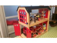 John Crane Pintoy Wooden Fire Station and accessories toy set