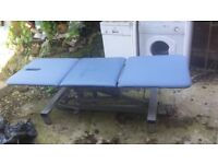 Hydraulic massage recliner table,on wheels, blue colour, very good condition, best offer