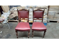 Two Leather Antique Chairs, Hardwood, Red leather - restoration project
