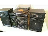 PHILIPS Turntable Stereo HiFi System EQs Speakers Tape Player iPhone connector