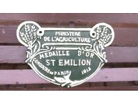 CAST IRON ' MINISTERE DE L'AGRICULTURE ' FRENCH SIGN - MEDAILLE D'OR ST EMILION 1913 -STRONG COLOURS