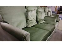 Soft Emerald Green Fabric Three Two And One Sofa Suite In Great Condition