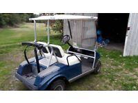 mox UK blue golf buggy / cart battery powered.