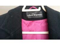 Jane Norman woollen coat, black, mid length. good condition.