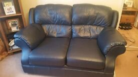 *REDUCED AGAIN*Marks & Spencer ~ Blue Real Leather Sofa and Armchair ~ Excellent condition looks new
