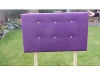 Purple velvet single headboard