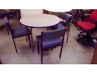 Round dining table with 3 blue fabric chairs 100cm