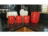 Next red pokodot Tea coffee suger biscuit jars
