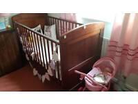Dark wood teddy bear cot bed babies r us
