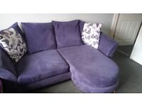 Purple corner sofa which can be used with right or left corner.