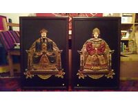Chinese emperor and empress wooden wall hangings