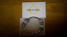 Pandora bracelet with 13 glass charms