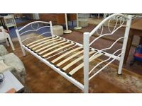 White Metal Love Heart Single Bed Frame