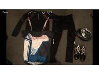 Men's cycling clothes bundle size L large trousers tshirts safety helmet Nike shoes trainers sz8