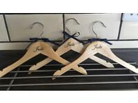 Personalised wooden hangers x3