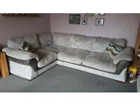 Large grey jumbo cord corner sofa