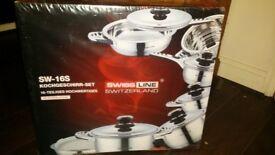 Brand new boxed unopened Swiss pan set