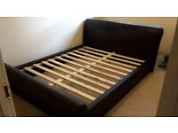 Faux Leather King Size Sleigh Bed Frame Brown