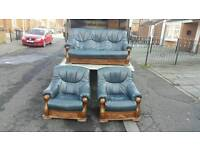 3+1+1 dark blue leather sofa