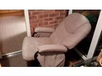 2 swivel, rocking and reclining chairs with rocking foot stools.