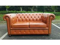Chesterfield oversized 2 seater sofa. Tan leather. AS NEW CONDITION! BARGAIN.