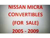 NISSAN MICRA CONVERTIBLES (7) CARS FOR SALE – (PRICES) £1395 TO £1695