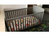 OBaby Grace Taupe/Grey Cot - Mattress Included!