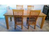Large Solid Oak Dining Table and 4 Chairs