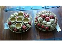 tea light holders to hold 4 t-lights red and gold baubles