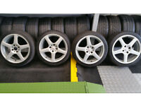 BWA Racing 17 alloy wheels + 4 x tyres 215 40 17 Ford,Citroen,Peugeot,...