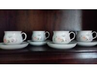 Denby Encore (Sweet Pea Design) 4 x Cups & Saucers. First Class Condition.