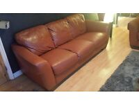 leather tan sofa 3 +2 seater
