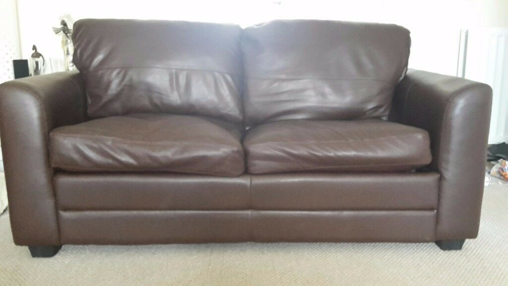 Leather Sofa bed, brown bonded leather with foam mattress | in Highcliffe,  Dorset | Gumtree