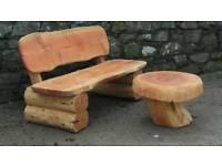 Log furniture. Bench seat. Swing seat. Picnic table. Outdoor. Rustic. Heavy.