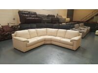 Ex-display Designer Cream leather corner sofa