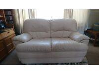 2 seater leather sofa - cream