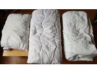 John Lewis set of a pillow and 2 duvets for toddler bed 7 tog and 4 tog