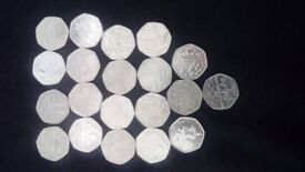 Selection of rare collectable fifty pence pieces