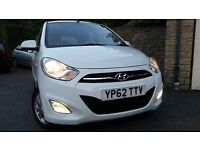 2013 White Hyundai i10 1.2 style, low mileage and all the extras a practical economical city car